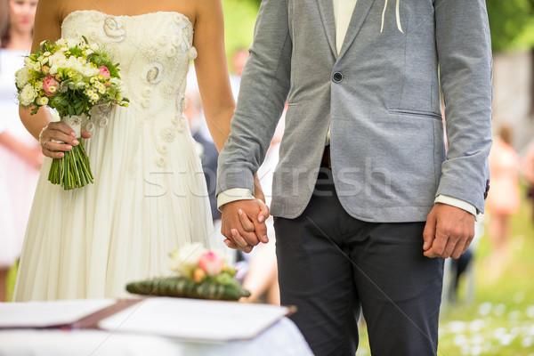 Wedding couple on their wedding day Stock photo © lightpoet
