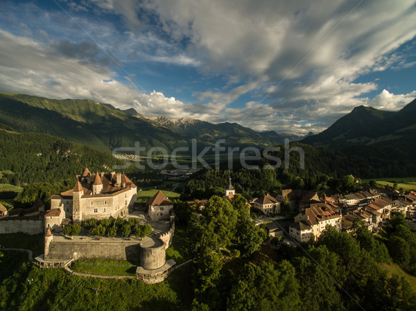 Beautiful view of the medieval town of Gruyeres Stock photo © lightpoet