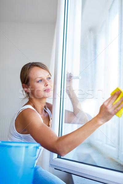 Stok fotoğraf: Güzel · genç · kadın · ev · çalışmak · yıkama · pencereler