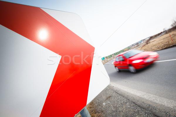 Forgalom autó vezetés gyors éles fordul Stock fotó © lightpoet