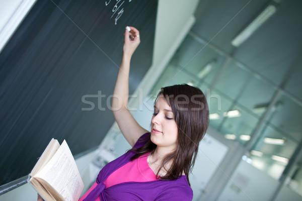 Csinos fiatal főiskolai hallgató ír matematika osztály Stock fotó © lightpoet