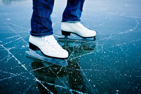Young woman ice skating outdoors on a pond on a freezing winter  Stock photo © lightpoet