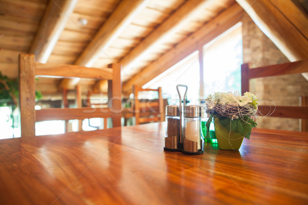 Cosy wooden restaurant - mountain chalet Stock photo © lightpoet