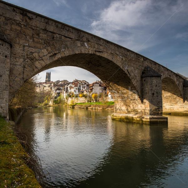 İsviçre şehir manzara sokak yaz köprü Stok fotoğraf © lightpoet