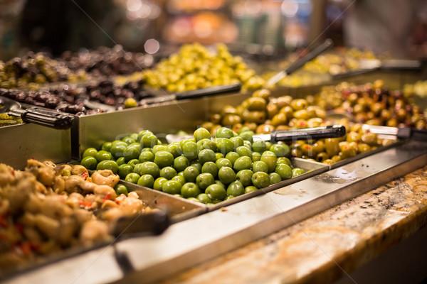 Zeytin gıda depolamak akşam yemeği süpermarket zeytin Stok fotoğraf © lightpoet