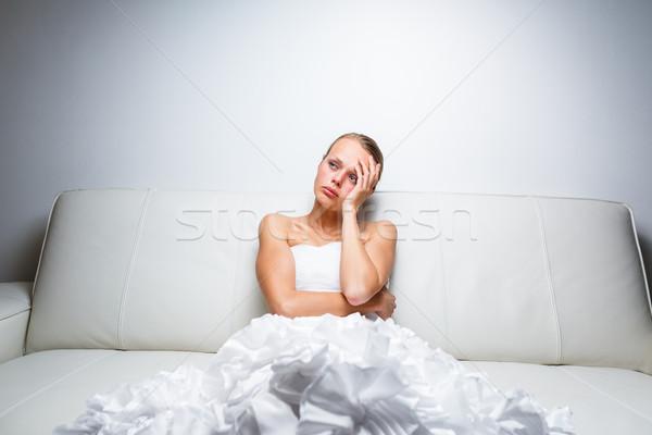 Triest bruid huilen vergadering sofa gevoel Stockfoto © lightpoet