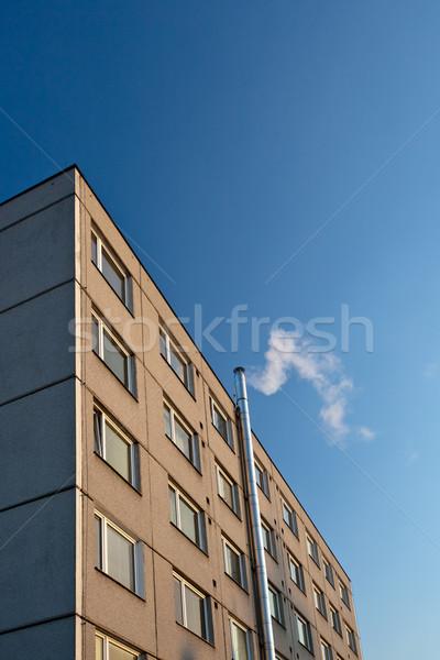 Dışarı baca ısıtma kış mavi gökyüzü Stok fotoğraf © lightpoet