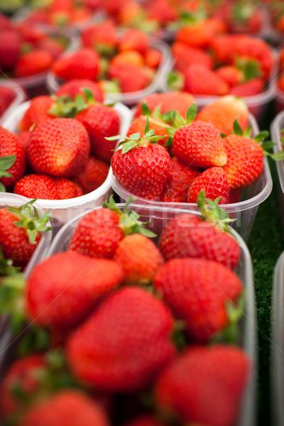 Stock fotó: Gazdák · piac · friss · eprek · étel · gyümölcs