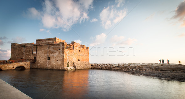 Tarde tarde vista castillo Chipre mar Foto stock © lightpoet