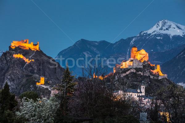 Switzerland, Valais, Sion, Night Shot of the  two Castles - Tour Stock photo © lightpoet