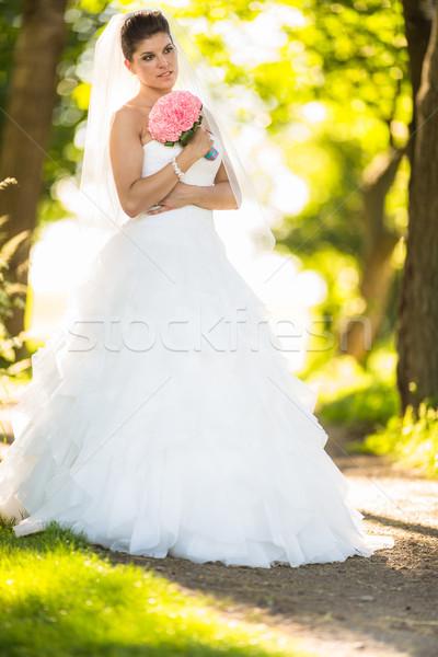 Prachtig bruid bruiloft dag kleur afbeelding Stockfoto © lightpoet