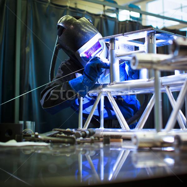 Lasser werk kleur afbeelding bouw licht Stockfoto © lightpoet
