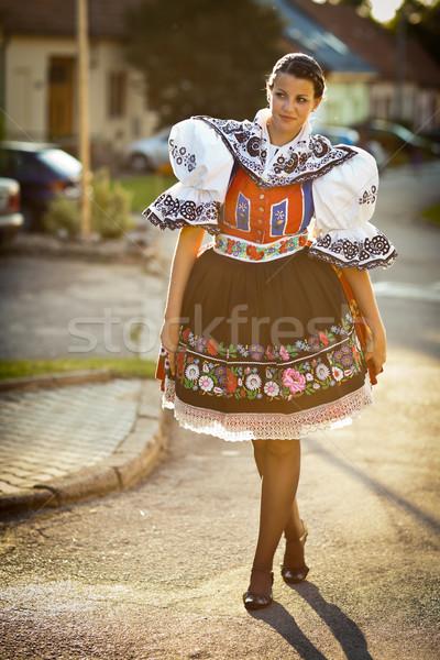 Genç kadın dekore edilmiş tören elbise gelenek canlı Stok fotoğraf © lightpoet