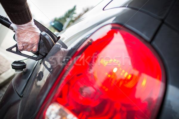 Carro posto de gasolina negócio edifício construção abstrato Foto stock © lightpoet
