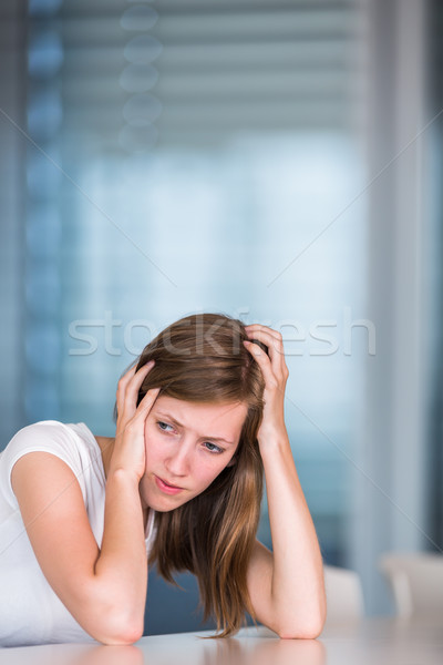 Fiatal nő nő munka kék fekete sziluett Stock fotó © lightpoet