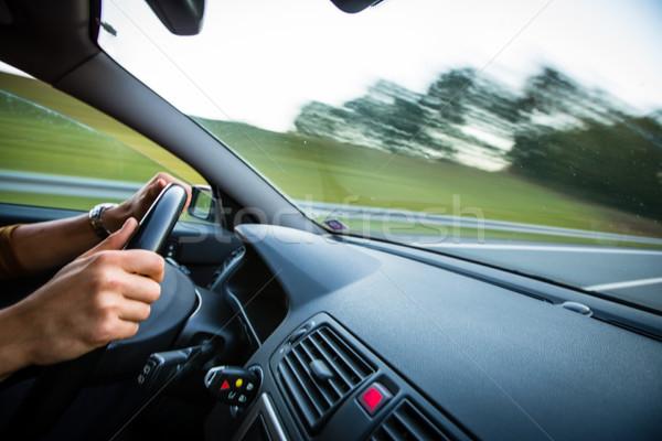 Stockfoto: Man · rijden · auto · bewegende · snel · snelweg