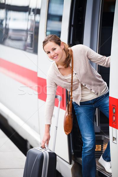 Foto stock: Bastante · embarque · tren · ciudad · urbanas