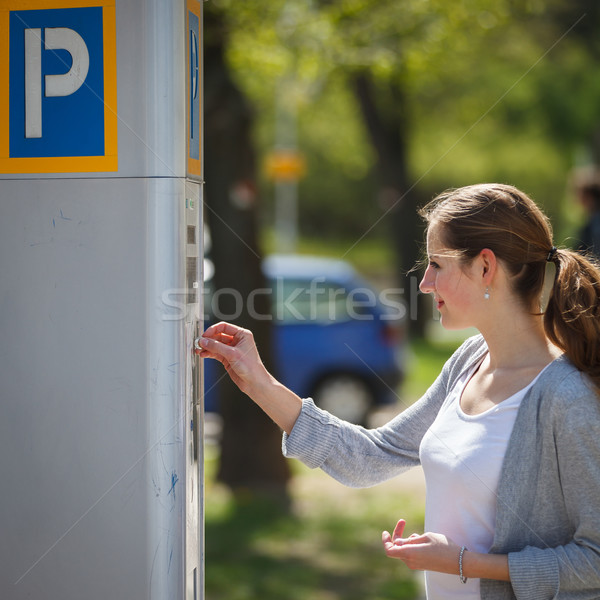 Young woman paying for parking  Stock photo © lightpoet