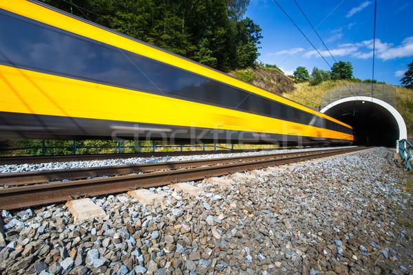 Veloce treno tunnel estate giorno movimento Foto d'archivio © lightpoet