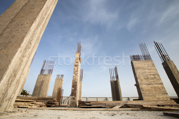 Construction site - Pillars of a building in the making  Stock photo © lightpoet