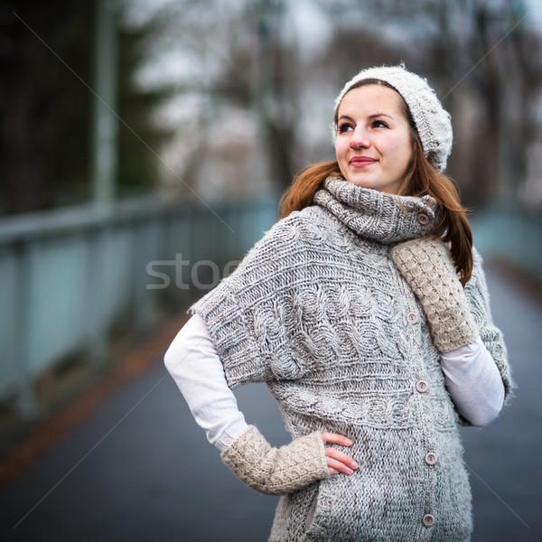Portre genç kadın sıcak hırka yün poz Stok fotoğraf © lightpoet