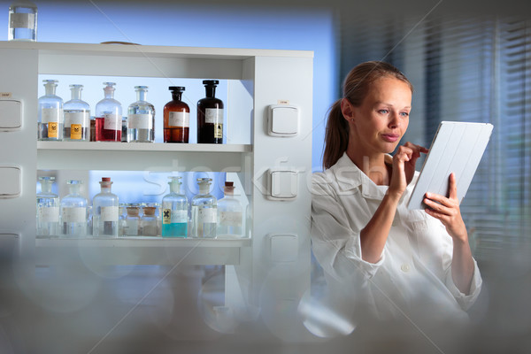 Portré női kutató biokémia labor kutatás Stock fotó © lightpoet