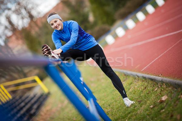 Сток-фото: запустить · женщину · счастливым · фитнес