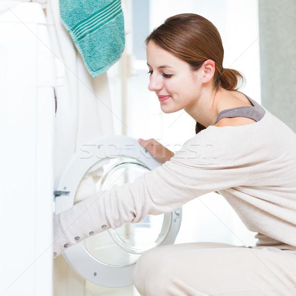 Foto stock: Trabalhos · domésticos · mulher · jovem · lavanderia · raso · cor