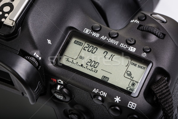 Professional modern DSLR camera - detail of the top LCD  Stock photo © lightpoet