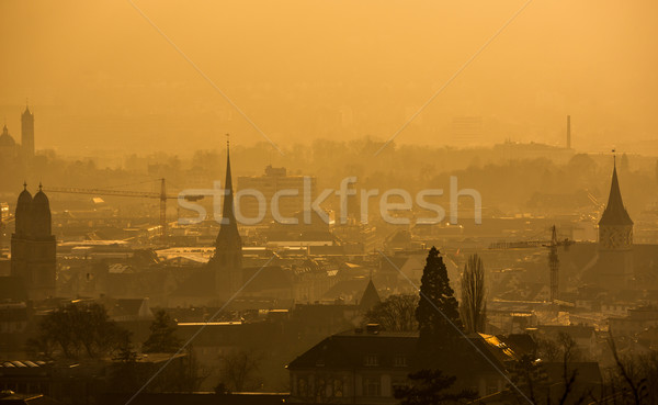 View of Zurich from above - misty winter evening and smoke Stock photo © lightpoet