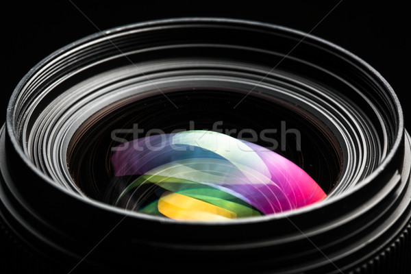 Professional modern DSLR camera llense low key image Stock photo © lightpoet