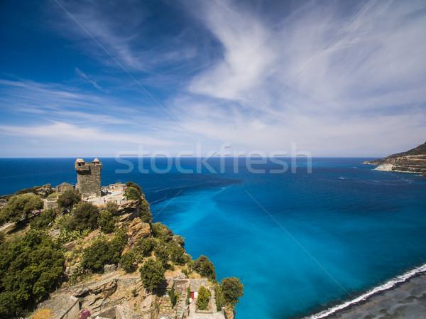Aerial view of the beautiful village of Nonza, in Cap Corse Stock photo © lightpoet