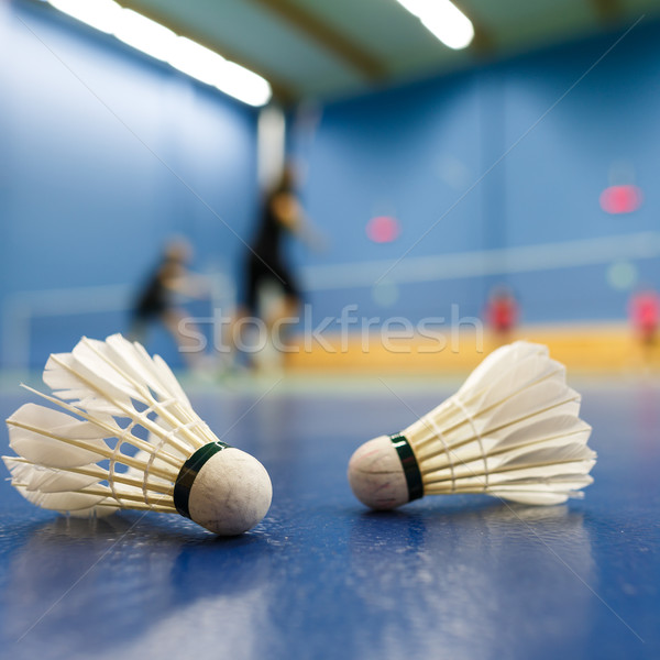 badminton - badminton courts with players competing; shuttlecock Stock photo © lightpoet