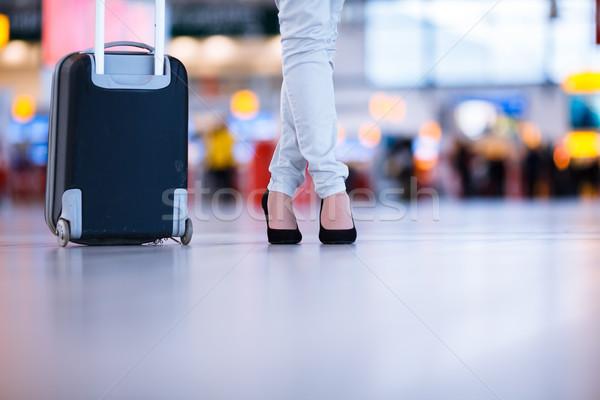 Güzel genç kadın havaalanı sığ Stok fotoğraf © lightpoet