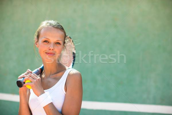 Foto stock: Retrato · bastante · jovem · sorrir · esportes