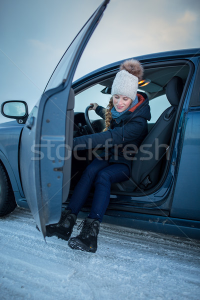 Woman driving a car - female driver at a wheel of a modern car Stock photo © lightpoet