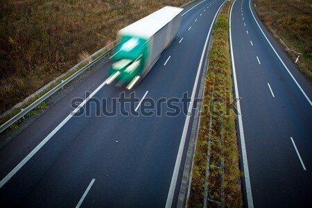 highway traffic - motion blurred truck on a highway/motorway Stock photo © lightpoet