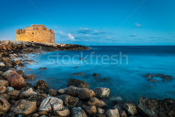 Nacht kasteel Cyprus hemel gebouw Stockfoto © lightpoet