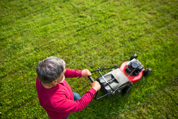 Senior man mowing his garden - shot from above - interesting ang Stock photo © lightpoet