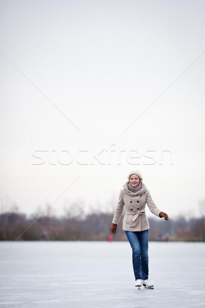 Сток-фото: катание · на · коньках · улице · пруд · зима · день