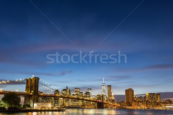 Brug schemering park New York City hemel water Stockfoto © lightpoet