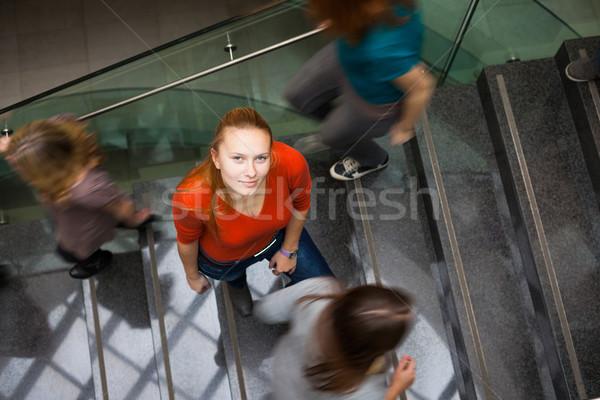 Studentów w górę w dół zajęty klatka schodowa dość Zdjęcia stock © lightpoet