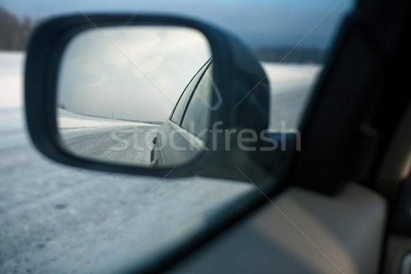 Rear view mirror of a modern car on a winter day Stock photo © lightpoet