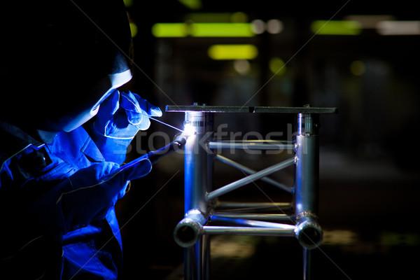 Hegesztő munka szín kép építkezés fény Stock fotó © lightpoet