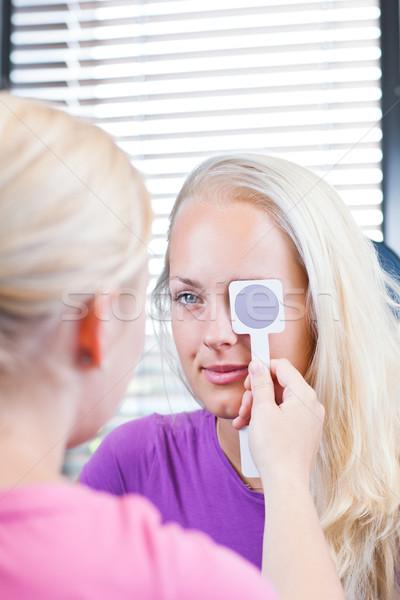 Giovani femminile paziente occhi oculista bella Foto d'archivio © lightpoet