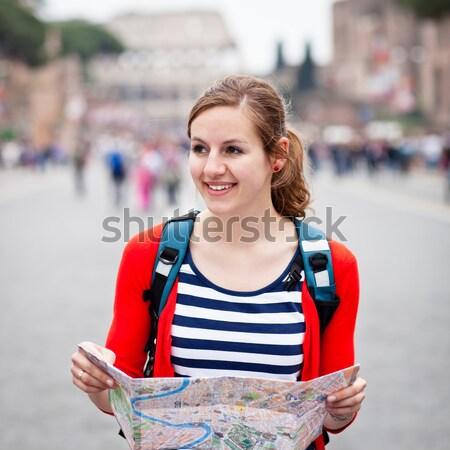 Portré csinos fiatal turista városnézés Róma Stock fotó © lightpoet