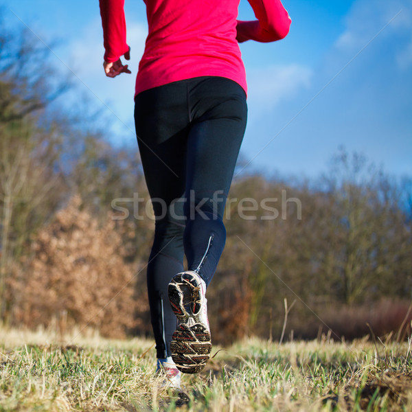 Jogging outdoors in a meadow  Stock photo © lightpoet