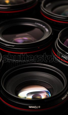 Moderno fotocamera lenti riflessioni basso chiave Foto d'archivio © lightpoet