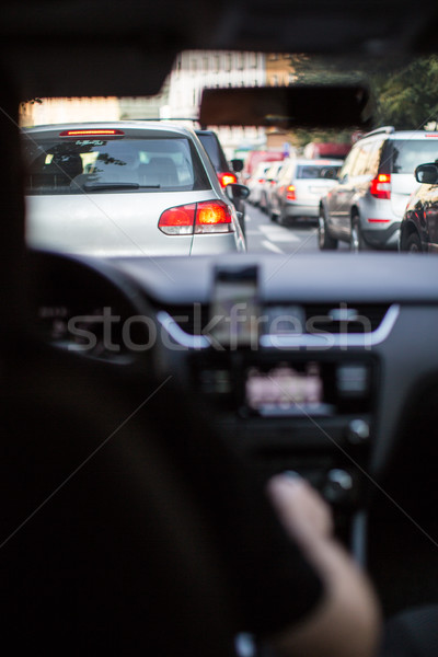 Traffic jam in a city with row of cars on the  road during rush  Stock photo © lightpoet