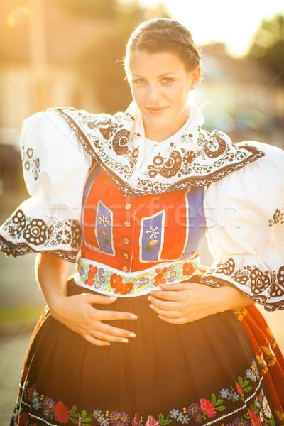 Genç kadın dekore edilmiş tören kostüm gelenek canlı Stok fotoğraf © lightpoet